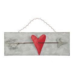 Galvanized Metal Heart & Arrow Sign