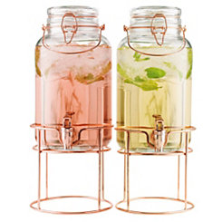 Copper and Glass Beverage Dispensers, Set of 2