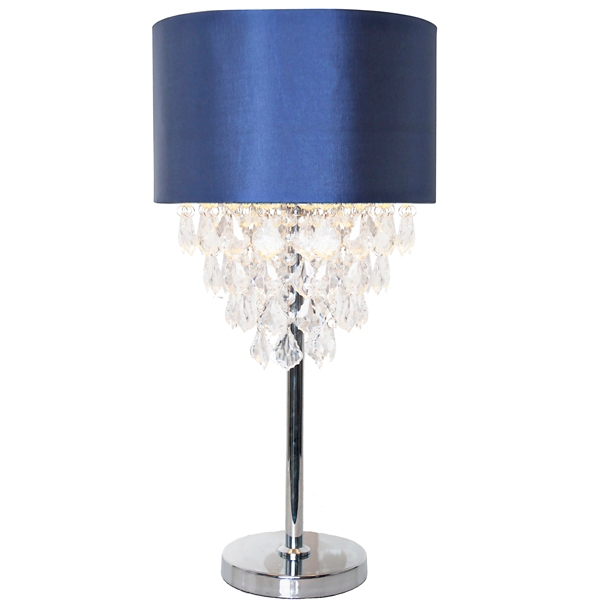 navy and chrome tiered crystal table lamp