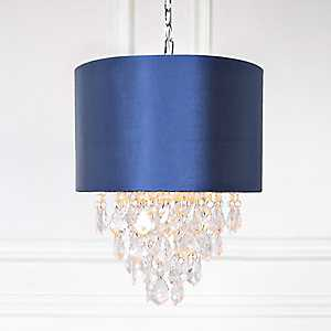 Navy and Chrome Tiered Crystal Pendant Lamp