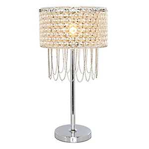 Champagne Plated Glass and Metal Table Lamp