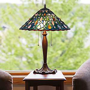 Jewelescent Blue Stained Glass Table Lamp