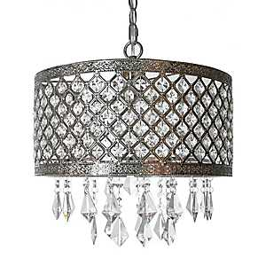 Silver and Crystal Lattice Chandelier