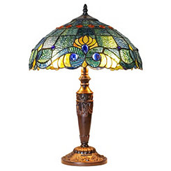 Swirling Shells Stained Glass Table Lamp