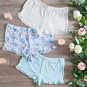 Ruffled Patterned Pajama Shorts
