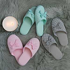Polka Dot and Bow Slippers
