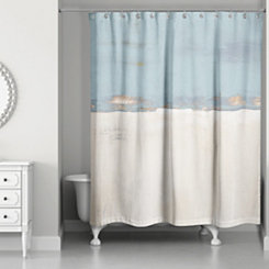 Blue and Cream Horizon Shower Curtain