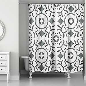 Geometric Tile Shower Curtain