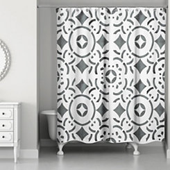 Geometric Tile Shower Curtain