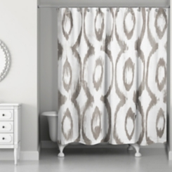 Taupe Cat Eye Shower Curtain