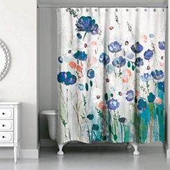 Blue Flower Explosion Shower Curtain