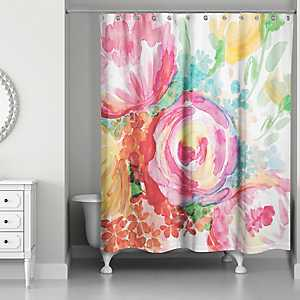 Bright Watercolor Florals Shower Curtain