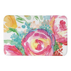 Bright Watercolor Florals Bath Mat