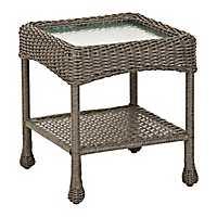 Avondale Gray Wicker Side Table