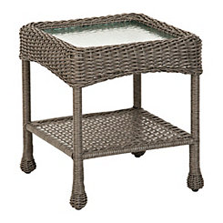Avondale Gray Wicker Side Table