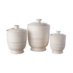 White Bianca Ridge Canisters, Set of 3
