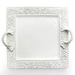 White Leaf Bianca Square Platter