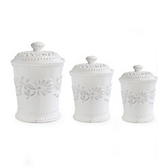 White Bianca Leaf Canisters, Set of 3