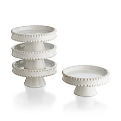 White Bianca Bead Cupcake Plates, Set of 4