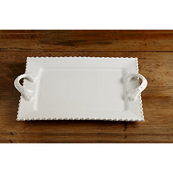 White Bianca Bead Rectangle Platter