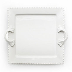 White Bianca Bead Square Platter