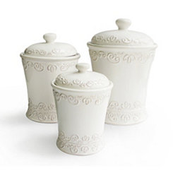 White Bianca Scroll Canisters, Set of 3