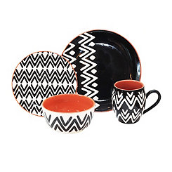 Wavy Black 16-pc. Dinnerware Set