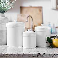 White Bianca Canisters, Set of 3