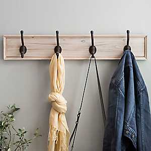 Solid Natural Wood Hook Plaque