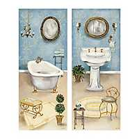 French Blue Bath Canvas Art Prints, Set of 2