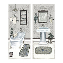 Gray Tub and Vanity Canvas Art Prints, Set of 2