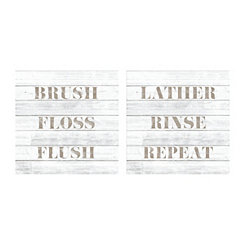 Taupe Type Bathroom Canvas Art Prints, Set of 2