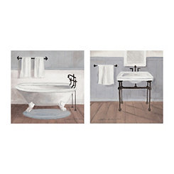 Gray Country Bath Canvas Art Prints, Set of 2