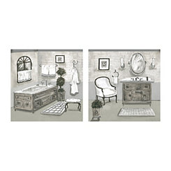 Gray Geo Spa Canvas Art Prints, Set of 2