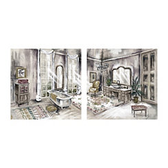 Luxe Light Bath Canvas Art Prints, Set of 2