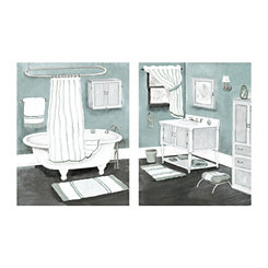 Gray Striped Decor Canvas Art Prints, Set of 2