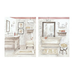 Light Watercolor Bath Canvas Art Prints, Set of 2