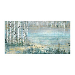 Blue Lake Trees Canvas Art Print