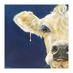 Diamonds and Pearls Cow Canvas Art Print