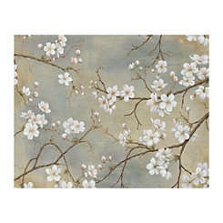 White Blossom Taupe Canvas Art Print