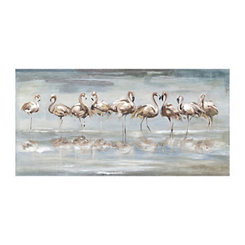 Flamingo Reflections Canvas Art Print