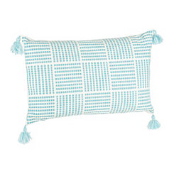 Aqua Portofino Grid Accent Pillow