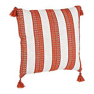 Rust Dotted Stripe Pillow