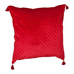 Red Quilted Velvet Pillow