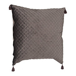 Gray Quilted Velvet Pillow