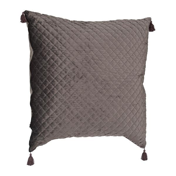 Gray Quilted Velvet Pillow