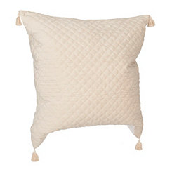 Ivory Quilted Velvet Pillow
