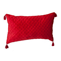Red Quilted Velvet Accent Pillow
