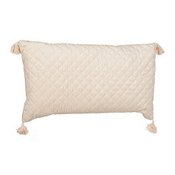 Ivory Quilted Velvet Accent Pillow