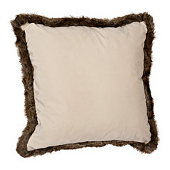 Cream Velvet Pillow with Brown Fur Trim